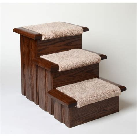 pet steps for bed oak wood carpeted pet stairs