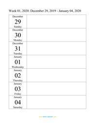 weekly calendar  word excel