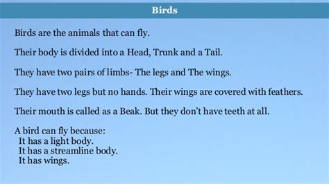 Essay On Different Types Of Birds In by Environmental Science Evs Birds Class Iii