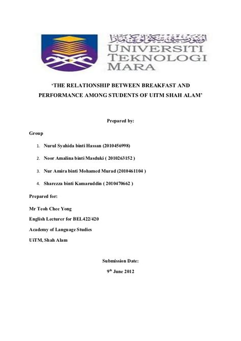 format research proposal uitm correlation between breakfast and student s performnace