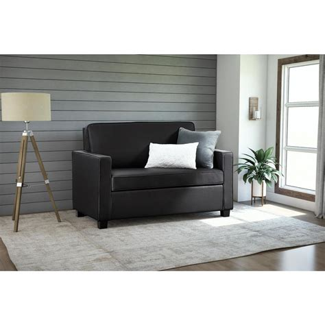 dorel casey size black faux leather sleeper sofa