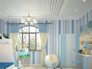 White suspended ceiling and blue wallpaper for boys