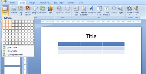 inserting charts in powerpoint 2007 for windows insert and delete columns and rows table 171 chart table