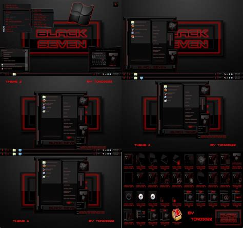 themes for windows 7 red windows 7 theme black seven red by tono3022 on deviantart