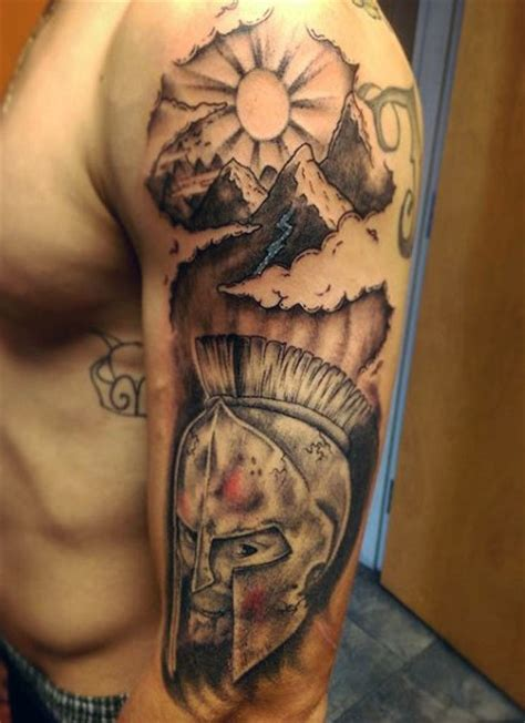 tattoos on upper arm for men 40 mountain designs for climb the highest peak