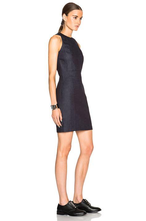 Blue Shoulder Dress 25059 lyst beckham narrow shoulder dress in blue