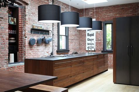 kitchen with brick wall brick wall and kitchen modern home design and decor