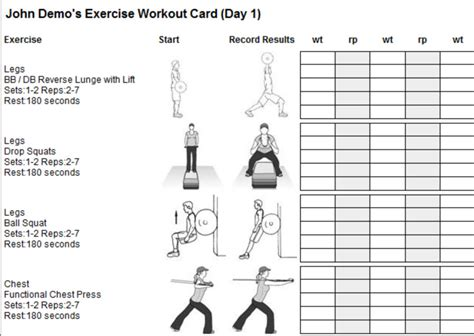 printable exercise plan printable workout plan cards