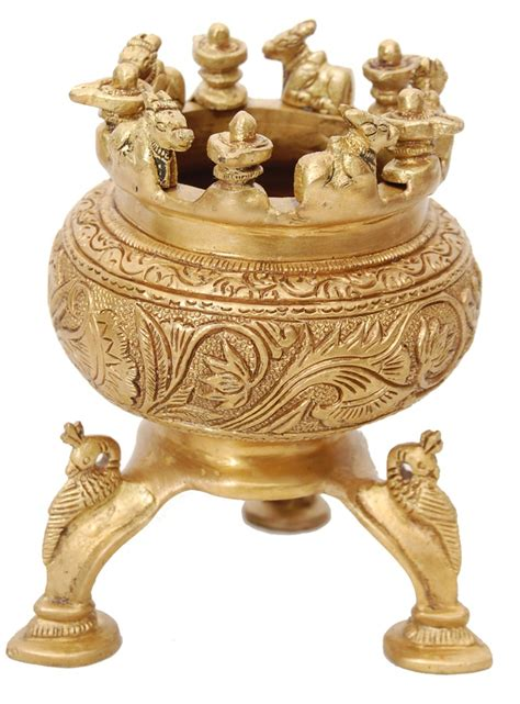 brass statues flower vase with stand indian home