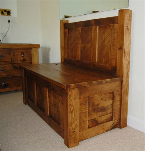 Handmade Pine Furniture - wooden plank handcrafted panelled monks bench by incite