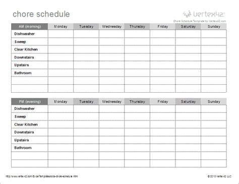 Chore Sheet Template by Chore Schedule Template