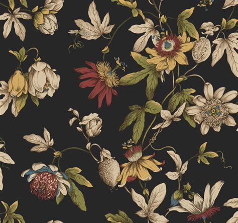 floral wallpaper for walls black ca7590 tropical floral wallpaper by seabrook