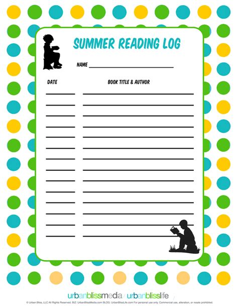 summer reading log template summer reading log bliss bliss
