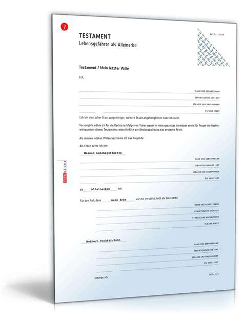 Musterschreiben Nachlass testament vor und nacherbenregelung muster zum