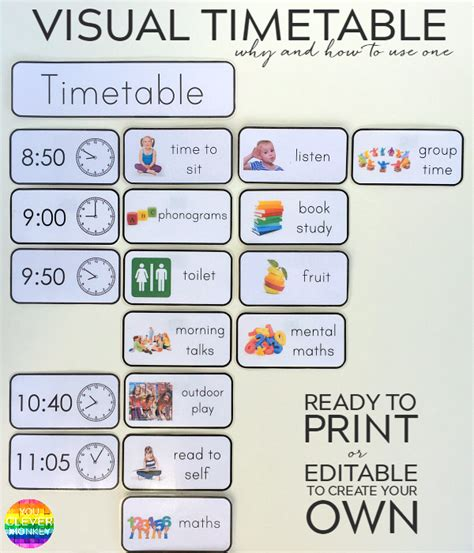 Why And How To Use Visual Timetable Effectively You Clever Monkey Visual Schedule Template