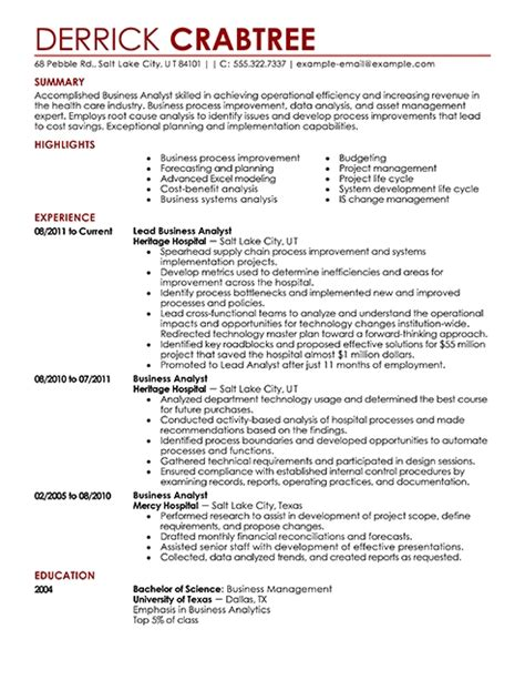 Senior Business Analyst Resume by Business Resumes Template Learnhowtoloseweight Net
