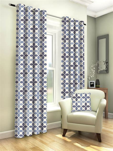 geometric blue curtains tangiers geometric denim blue 100 cotton eyelet fully