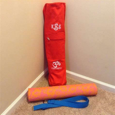 cotton zippered monogrammed yoga mat bag  embroidered