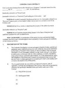 free construction contract template construction contract form free word pdf excel format