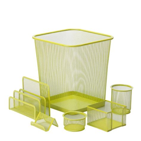 Honey Can Do 6 Piece Steel Mesh Desk Set In Lime Ofc 04882 Honey Can Do Desk