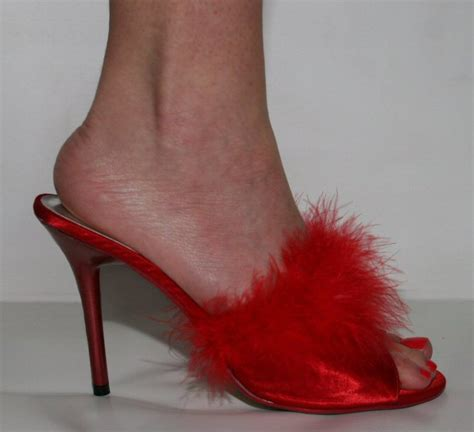 high heel bedroom slippers frou frou red satin with marabou feather 4 inch heel mule