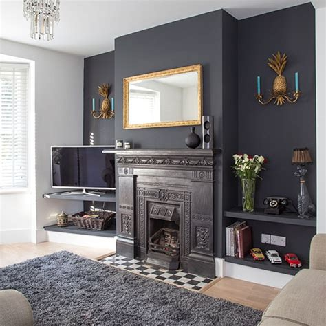 traditional living room with grey painted feature wall 20 ways with paint housetohome co uk