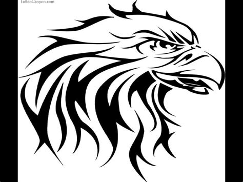tribal head tattoos eagle drawing