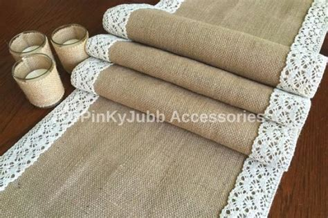 burlap table runner with lace rustic wedding burlap table runner with color