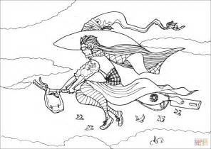 witch broomstick coloring page urban witch flying on broom coloring page free printable