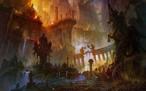 War fire destruction bridges fantasy art horses temples statues ancient artwork