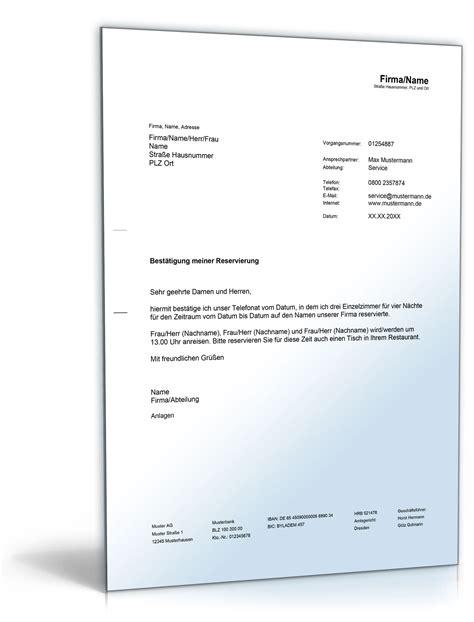 Musterbrief Bewerbung Zusage best 228 tigung einer zimmerreservierung de musterbrief