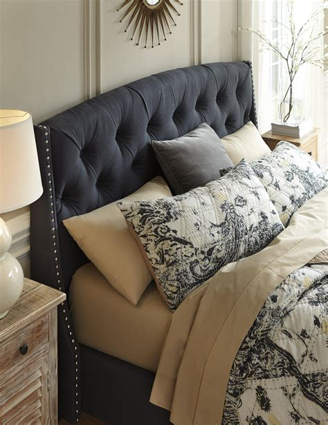 upholstery nailhead trim kasidon queen upholstered bed in dark gray with tufting