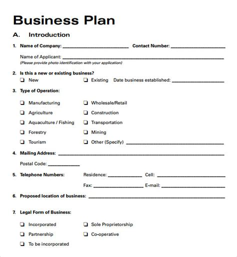 template for business plan free business plan templates 6 free documents in