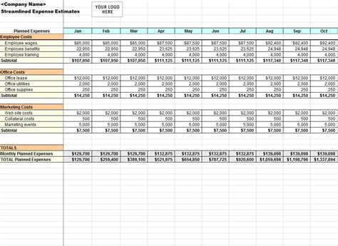 streamlined expense template streamlined expenses template