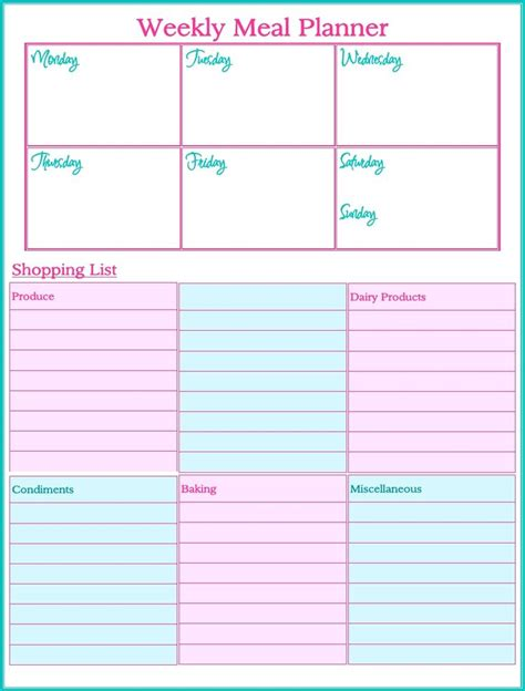 printable meal planner weekly meal planner printables pinterest