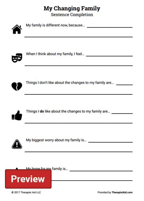 Family Therapy Worksheets by My Changing Family Sentence Completion Worksheet
