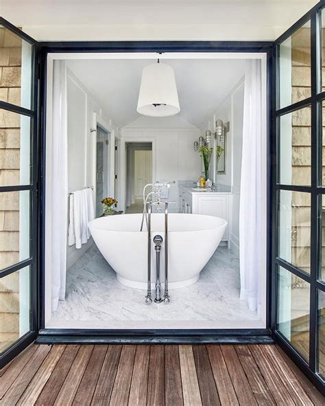 How To A To Use Bathroom Outside by Bathroom Doors Open To Outside Deck Transitional Bathroom