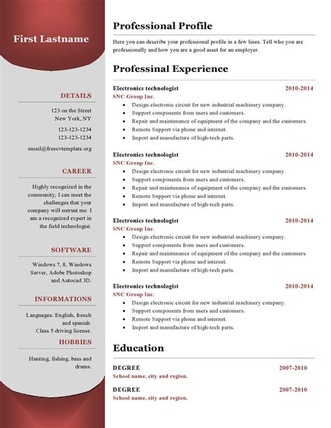 Resume Open App Resume Templates 380 To 385 Free Cv Template Dot Org