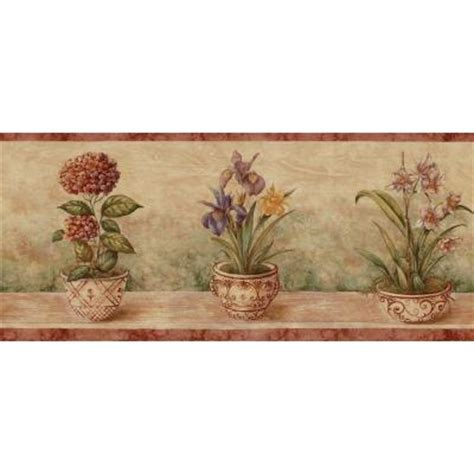 bathroom wallpaper borders home depot the wallpaper company 9 in x 15 ft terracotta potted