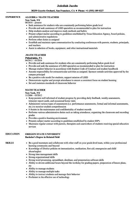 resume format for maths teachers math resume sles velvet
