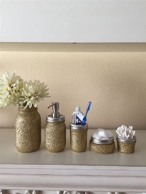glitter bathroom sets items similar to glitter mason jar bathroom set ball