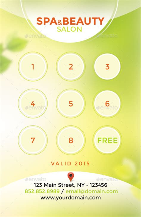 salon loyalty card templates spa salon loyalty card rewards card by