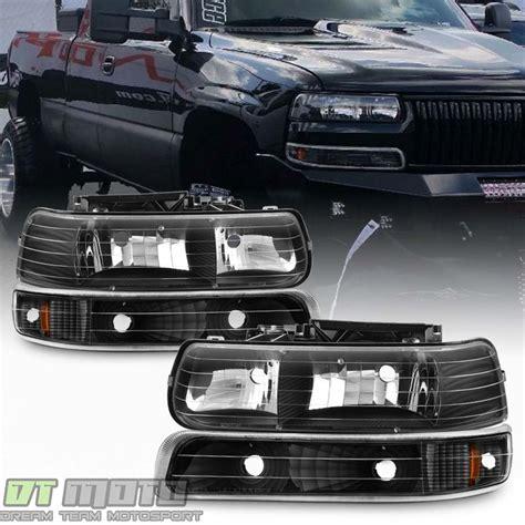 black 1999 2002 chevy silverado 00 06 tahoe suburban headlights bumper ls set ebay