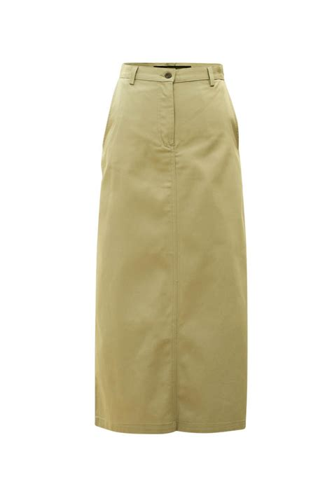 modest twill maxi skirt in khaki