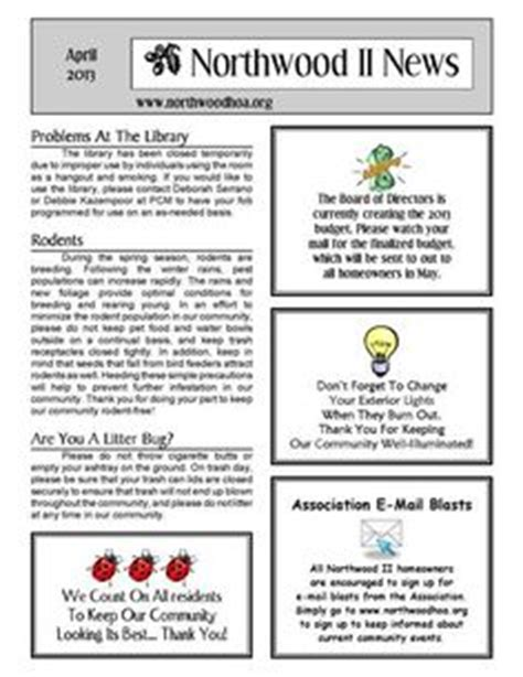 June 2013 Northwood Ii Nwii Hoa Community Association Newsletter Irvine Ca 92620 Hoa Community Newsletter Templates