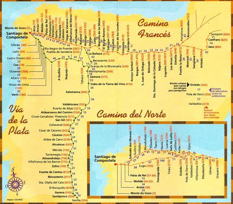 el camino map maps paths camino de santiago guide