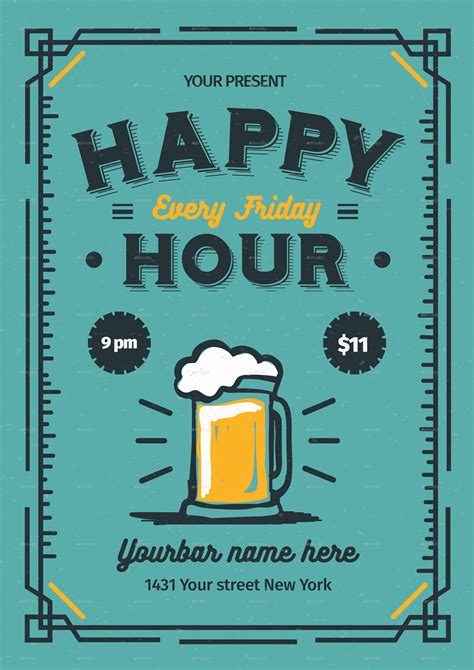 happy hour template happy hour flyer by lilynthesweetpea graphicriver