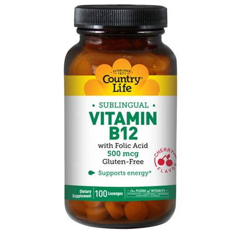 Vitamin Folic Acid country vitamin b 12 w folic acid sublingual 500 mcg 100 lozenges swanson health products