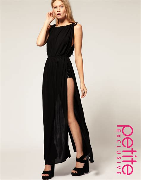 Asos Collection Asos Petite Exclusive Maxi Dress with Split Sides and Sequin Shorts in Black   Lyst