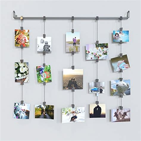 hanging pictures hanging photo organizer rail with chains and 32 clips gray